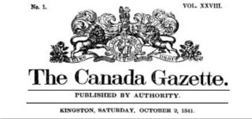 Canada Gazette masthead