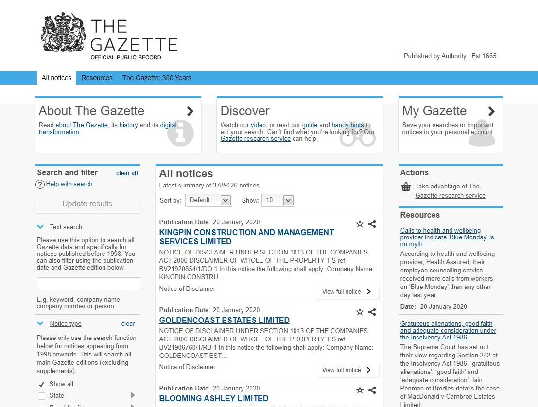Gazette Notices 2020