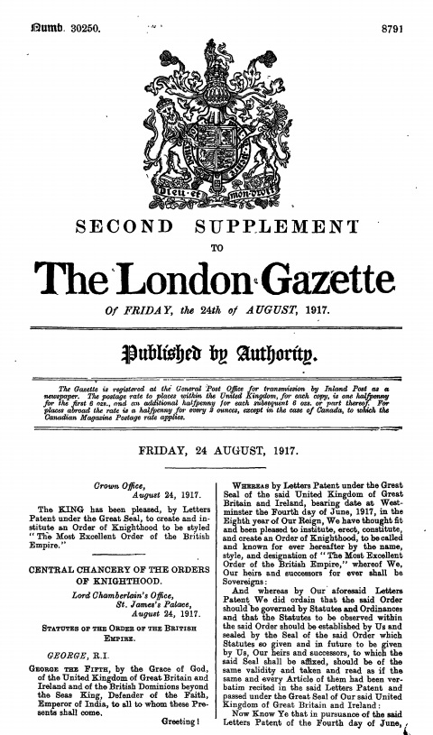 The London Gazette issue