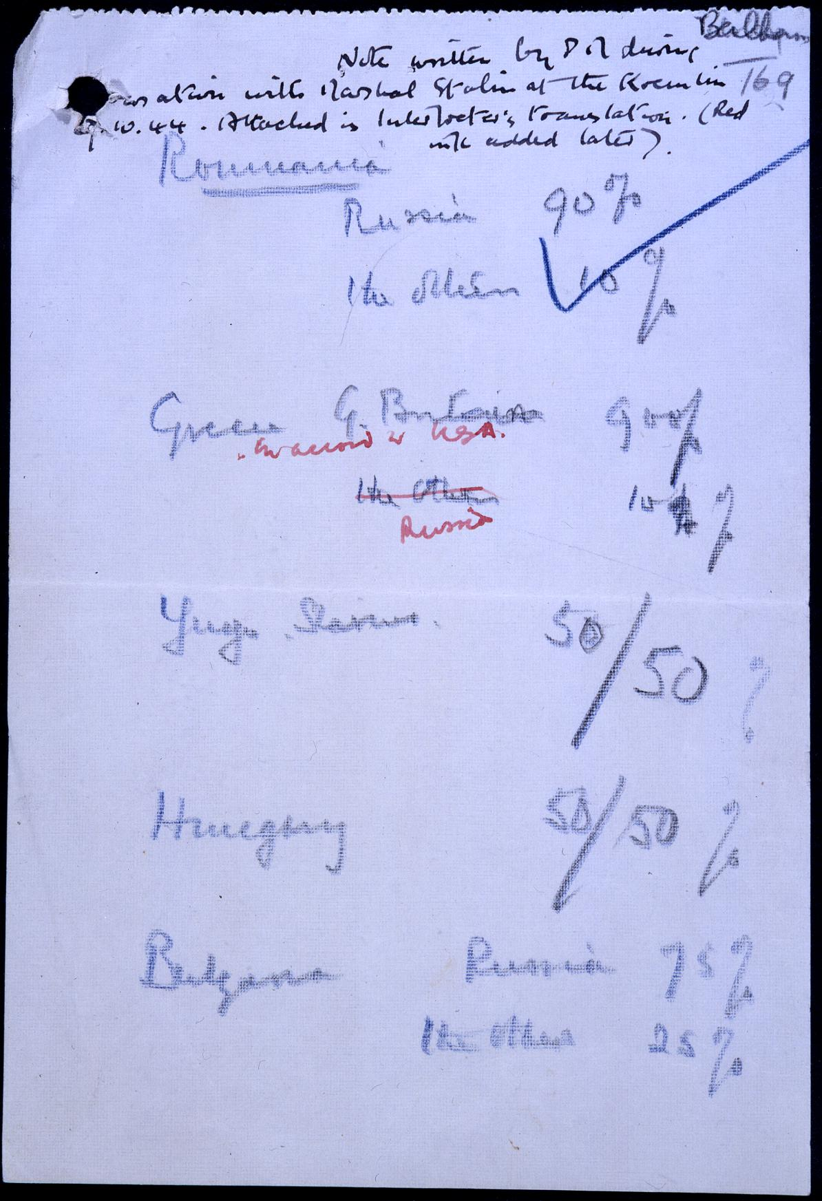 Churchill's percentages agreement with Stalin
