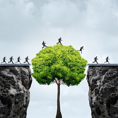 illustration of group crossing a cliff with tree obstructing